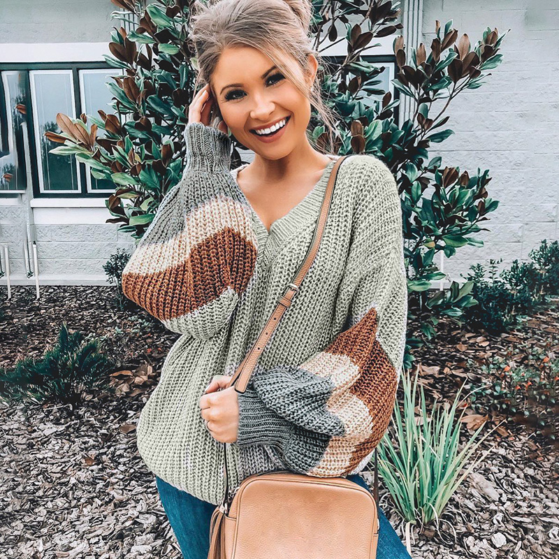 Conmoto Fashion Striped V Neck Pullover Women 2019 Autumn Winter Gray Long Sleeves Sweater Female High Street Loose Mujer Jumper