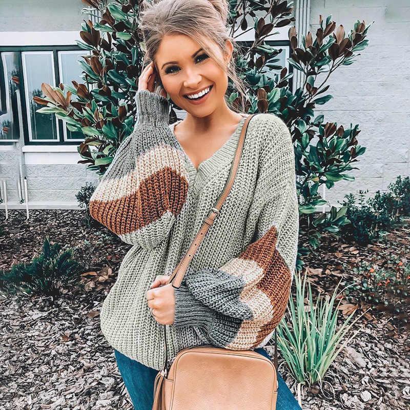 Conmoto אופנה פסים V צוואר סוודר נשים 2019 סתיו החורף אפור ארוך שרוולים סוודר נשי גבוהה רחוב רופף Mujer Jumper
