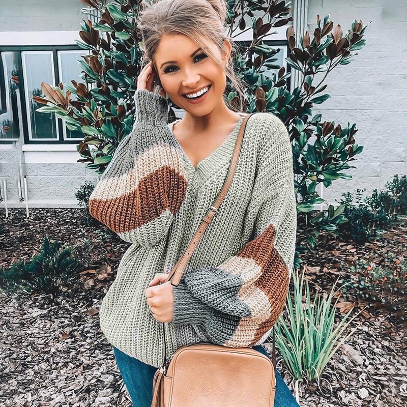 Conmoto de moda a rayas suéter de cuello V 2019 mujeres Otoño Invierno gris de manga larga suéter femenino de la calle suelta Mujer Jersey