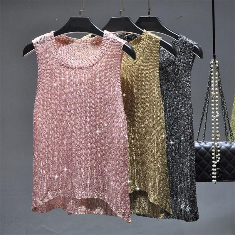 Summer Sexy Night Club DJ Dancer shiny gold tank tops women silver sequins knitted tank tops women bling sequines vest tops T