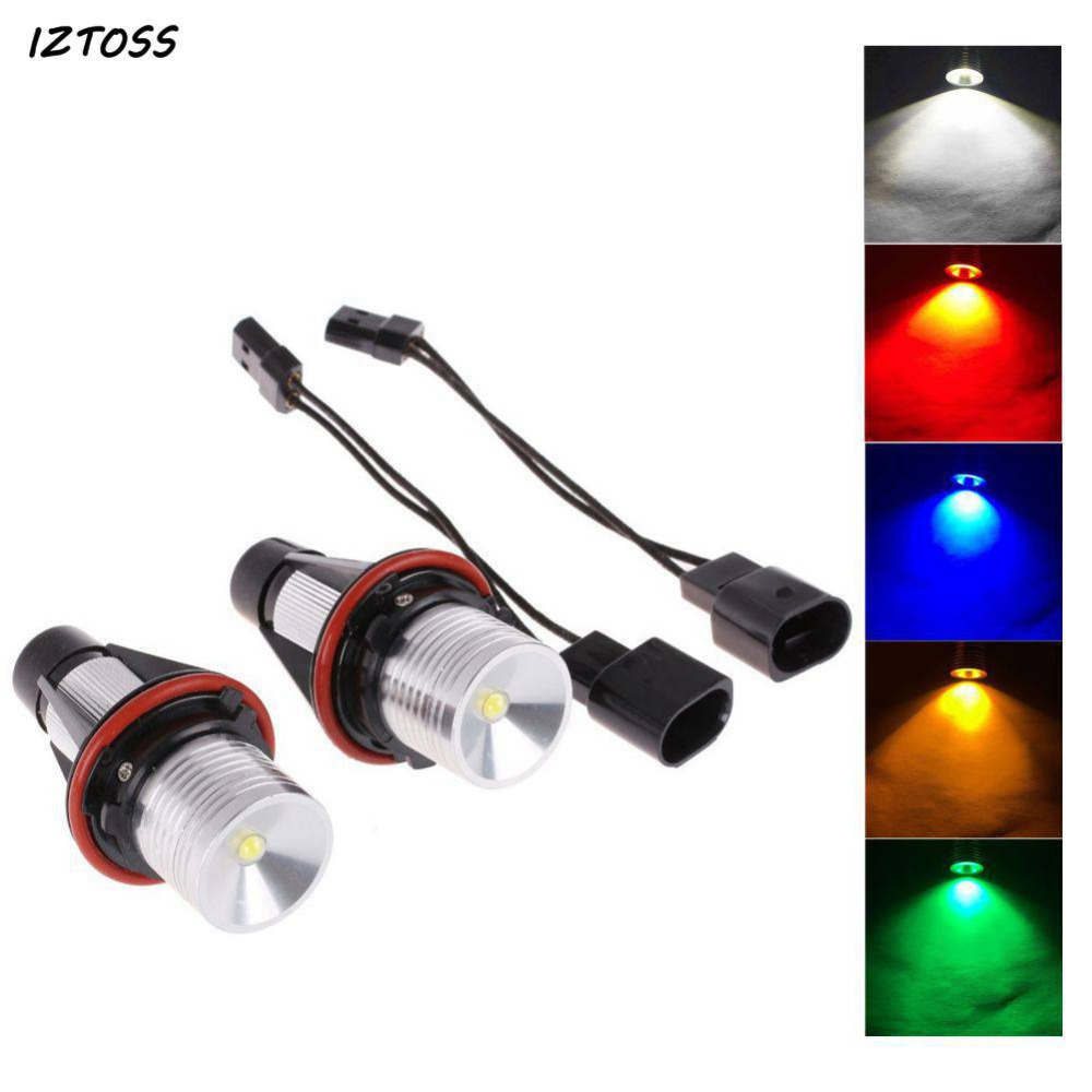 2Pcs 5WLED Chip LED Markings Angel Eyes White Blue Red Yellow Green Color for BMW E39 E53 E60 E61 E63 E64