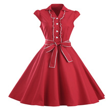 9 Colors 50S 60S Vintage Women Lace Pleated Swing Dress Retro Short Sleeve Sashes Hepburn Party