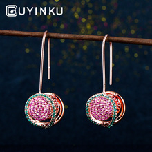 GUYINKU Created Ruby Emerald Gemstones 100% Solid 925 Sterling Silver Dangle Earrings For Women Drop Fine Jewelry