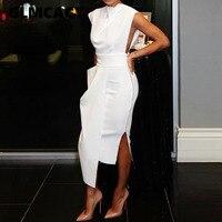 Женское элегантное облегающее платье без рукавов с разрезом на боковой молнии и асимметричным подолом, уличная оболочка, однотонное летнее...