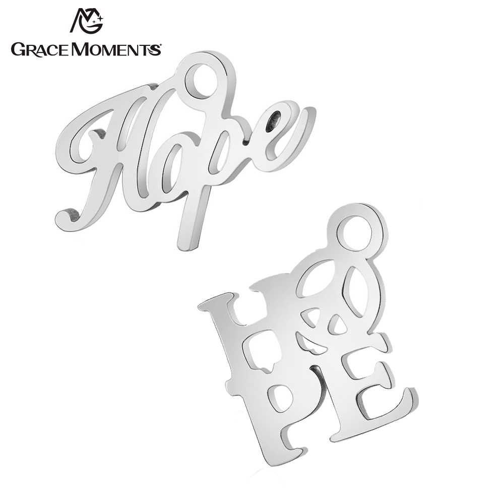 20pcs/Lot 316L Stainless Steel Charms Hope Letters Charms Pendants for Jewelry Making Bracelet DIY Handmade Accessories Gift