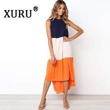 XURU summer new womens stitching dress fashion casual round neck sleeveless big bohemian beach