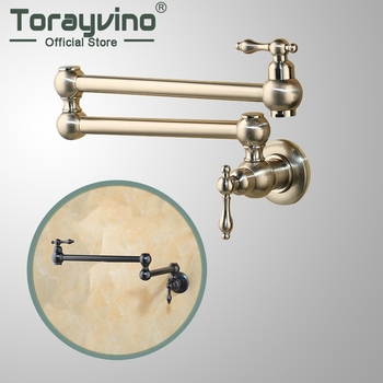 Torayvino Bronze Black Nickel Pot Filler Double Joint Spout Folding Stretchable Swing Arm Wall Mounted Brass Kitchen Faucet Tap