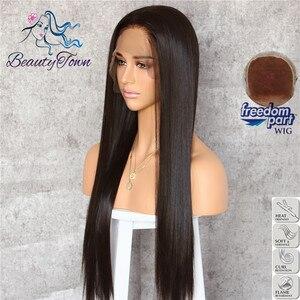 Image 3 - BeautyTown perruque Lace Front Wig synthétique, grande perruque à dentelle, 13x6 marron noir, Futura sans raie, résistante à la chaleur, sans emmêlement, avec couche de maquillage quotidienne