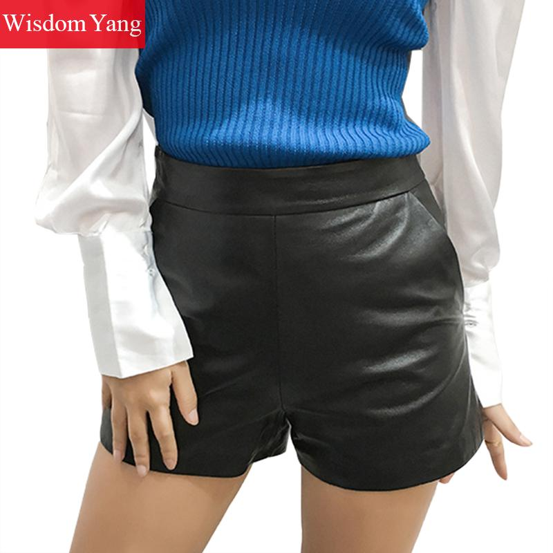 Spring Autumn Real Sheepskin Genuine Leather Shorts Womens Ruffles 2018 Black Short Sexy Club Palazzo Ladies Suit Short Trousers