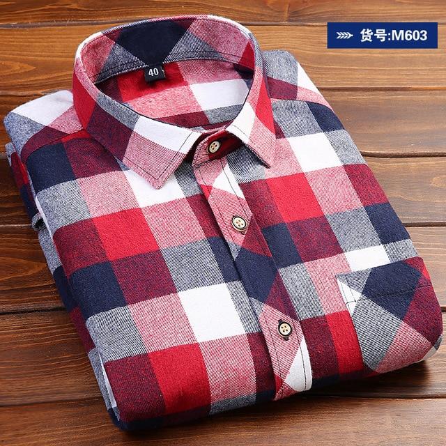 2018 New Plaid Shirt Autumn Winter Flannel Red Checkered Shirt Men