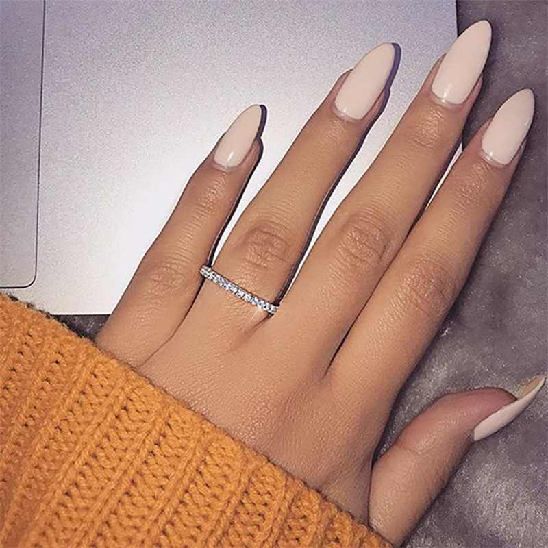Paylor New Hot Couple Stackable Brand Ring For Women Single Row Drill Ring Silver/Gold/Rose Gold Jewelry