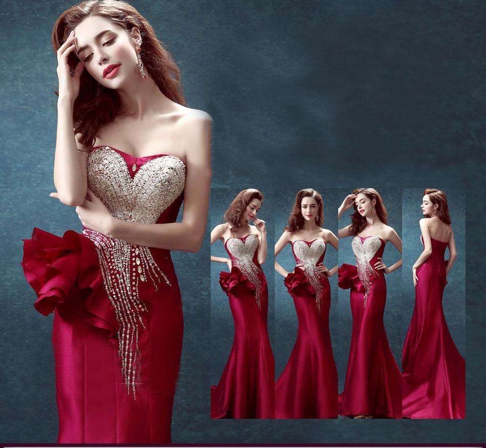 41f3c4299c Sexy 2015 pageant novia sin tirantes con cuentas flores hechas hechos a  mano vestido de sirena vino rojo largo tren de la corte de nuevo la correa  vestido ...