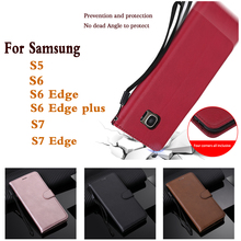 S7 S5 S6 for Samsung Galaxy Edge Solid Color Luxury Wallet Phone Case Plus Card Slot Stander Pu Cas