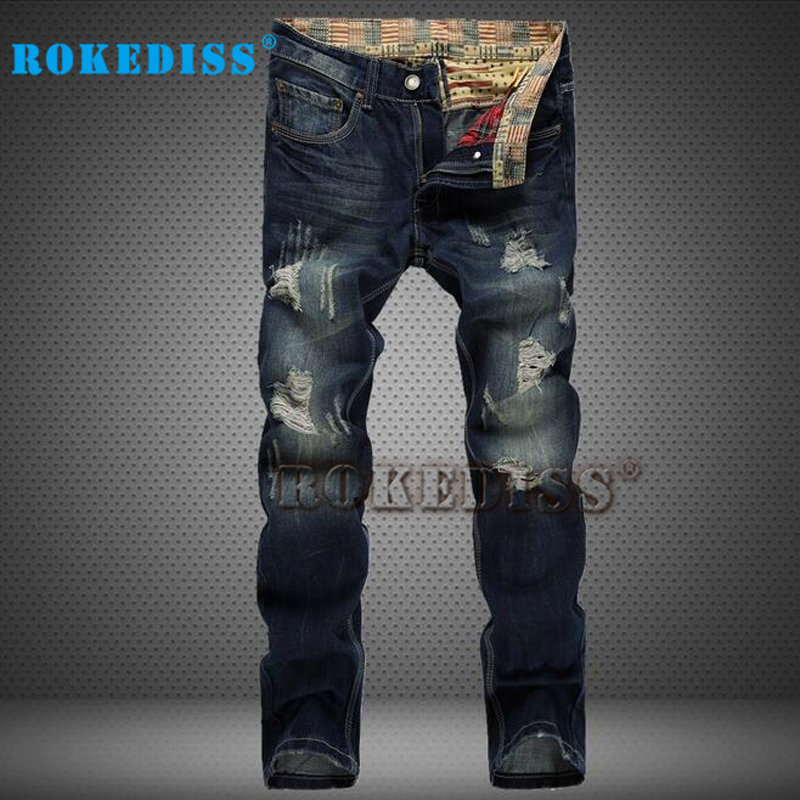 ФОТО Ripped jeans for men In the waist Men's jeans Washed with water  Skinny jeans men Fake designer clothes Vaqueros hombre B128