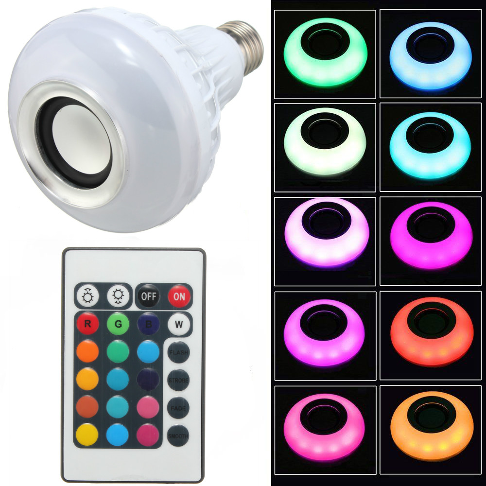 E27 Smart RGB Wireless Bluetooth Speaker Bulb Music Playing Dimmable LED Bulb Light Lamp with 24 Keys Remote Control newstyle portable wireless audio bluetooth speaker music playing e27 dimmable led light bulb lamp with rf remote control brightness adjustable and volume up down for smartphones tablets pcs and other bluetooth enabled devices
