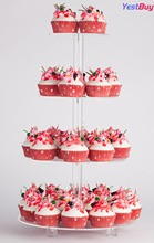 YestBuy 4 Tier Maypole Round Wedding Party Tree Tower Acrylic Cupcake Display Stand With Base (4 (15cm gap))(20 Inches)