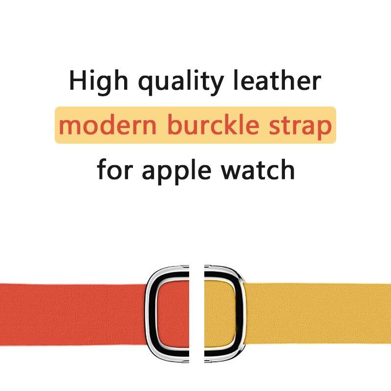 FOHUAS coloré de haute qualité en cuir Véritable moderne boucle sangle pour apple montre bande 42mm 38 montre bracelet 22mm montre bande
