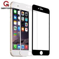 GerTong-واقي شاشة لهاتف iPhone ، فيلم مقوى للموديلات 5 S ، 7 ، 6 ، 6S ، X ، 5 ، SE ، 8 Plus ، أسود ، أبيض