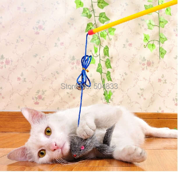 Funny cat stick toy kitten fishing rod with mouth in cat for Cat toy fishing pole