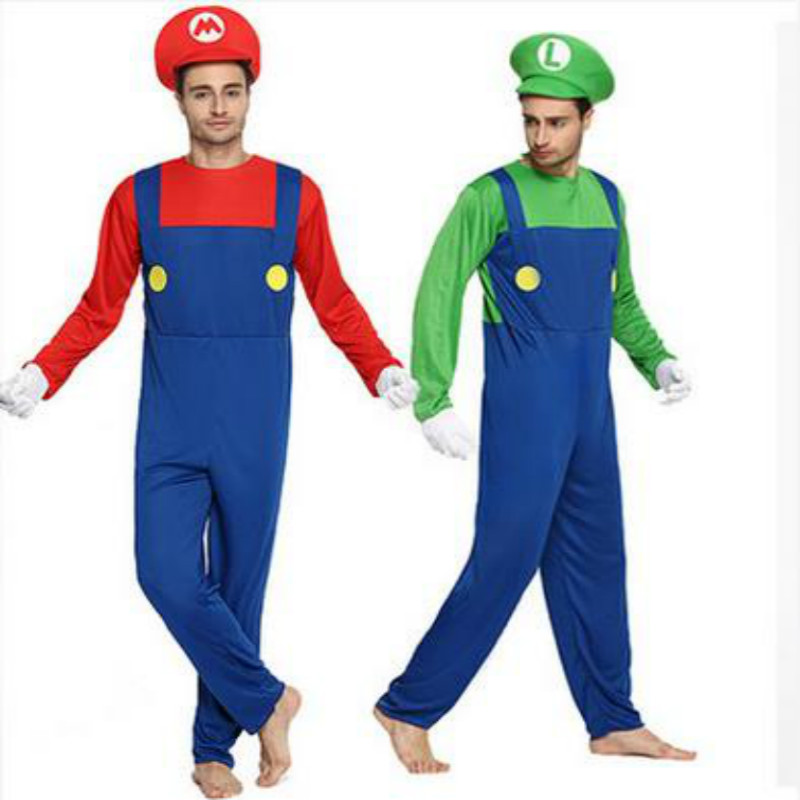 2017 fashion halloween adult men super mario luigi brothers costumes men plumber costume jumpsuit fancy cosplay clothing in anime costumes from novelty