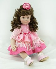 22 inch 55 cm Silicone baby reborn dolls, lifelike doll reborn babies toys Pretty girl with curly hair