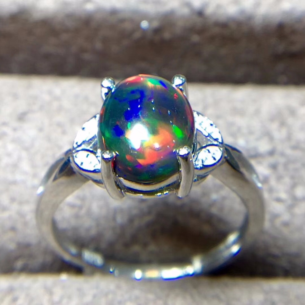 Bague opale noire naturelle, argent 925, gemme 3 carats, Flash feu - 4
