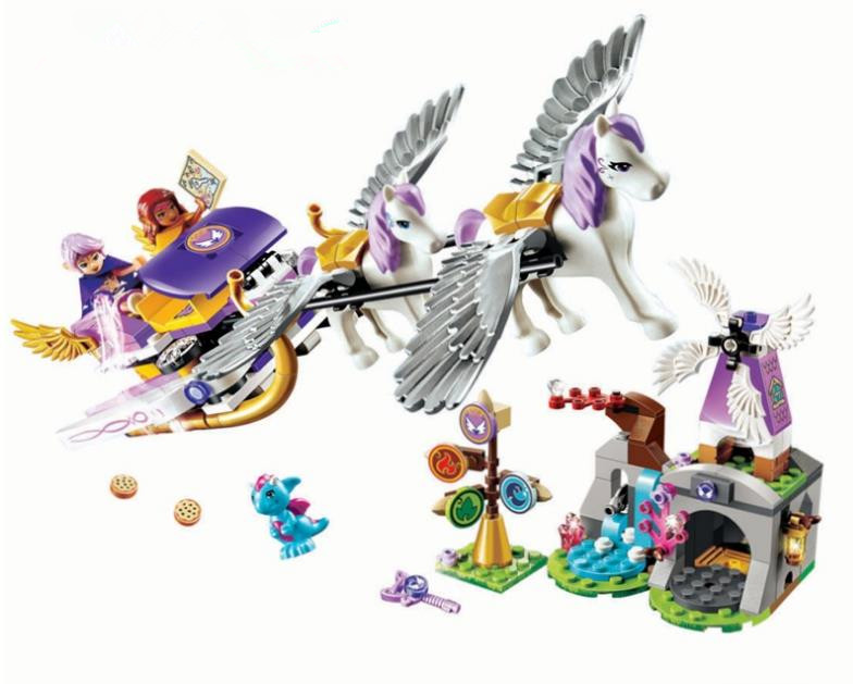 10413 Aira's Pegasus Sleigh Building Blocks set figures Bricks toys Christmas Gift Compatible With Legoed Elves for Girls 41077 24 pcs set the elves papa smurfette clumsy figures elves papa action figure for children toys dolls blue color birthday gift