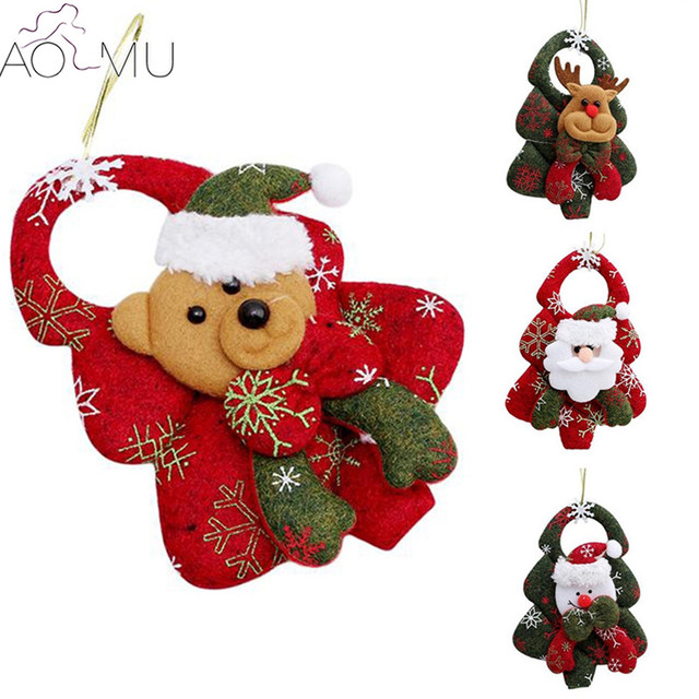 aomu new christmas ornaments christmas tree santa claus pendants drop christmas decorations home decoracion key chain - Christmas Chain Decorations