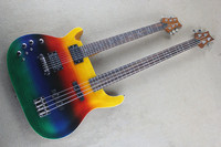 free shipping New Top Quality left hand Rainbow Double neck Multicoloured 6 String Electric Guitars 4 String Bass1117