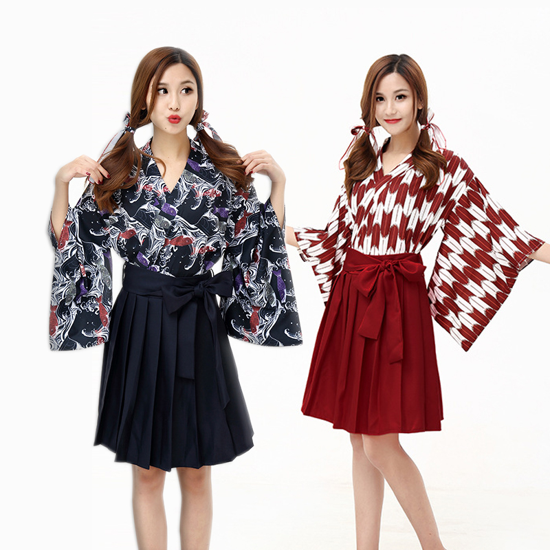 New Carp Flag and Wind Print Improved Kimono Japanese Style Cosplay Costume Party Show