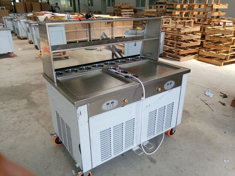 Double Big Square Pans With 11 Tanks Of Fried Ice Cream Roll Machine