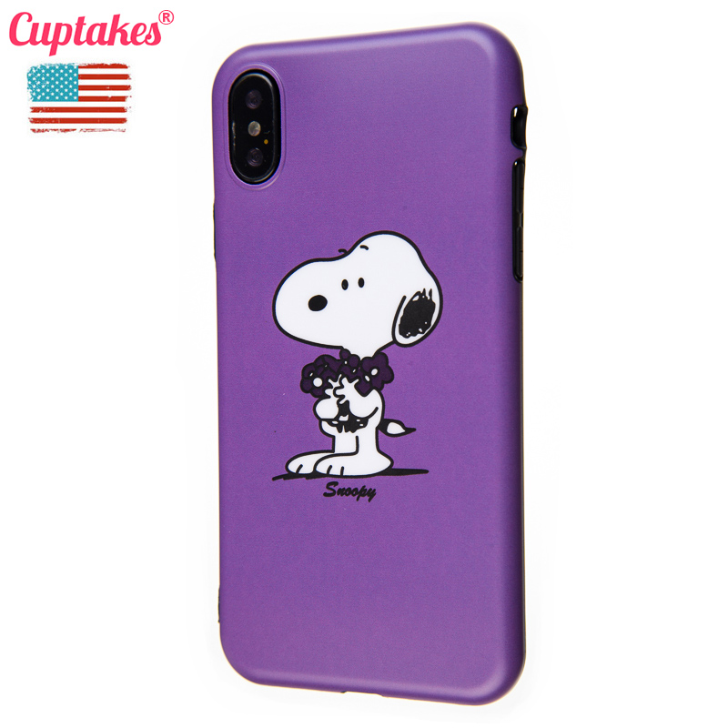 Cuptakes Cute IMD Soft Silicone <font><b>Case</b></font> for Apple iPhone 6 6S 7 8 X Plus 10 Cover <font><b>Luxury</b></font> <font><b>Brand</b></font> new Dog Purple <font><b>Phone</b></font> <font><b>Cases</b></font> Coque