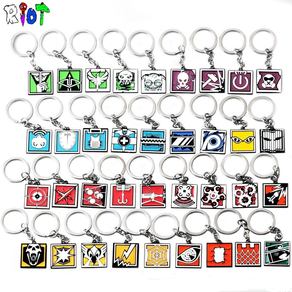 39 Types FPS Jeu Rainbow Six Siege Porte-cl/és en Alliage de Zinc Porte-cl/és en M/étal Pendentif Hommes Bijoux Fans Cadeau Color/é Charmes Accessoires