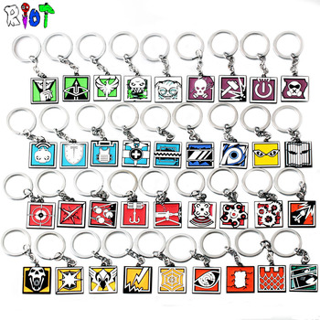 36 Types FPS Game Rainbow Six Siege Keychain Zinc Alloy Keyring Metal Pendant Men jewelry Fans Gift Colorful Charms Accessories