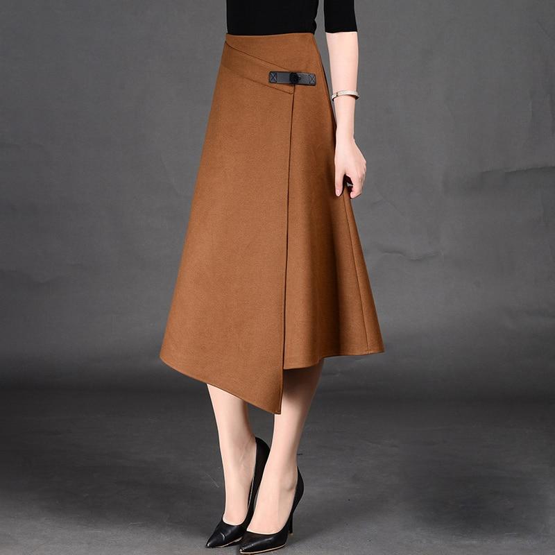 timmiury winter wool skirts high waist a line