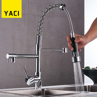 Fast Shipping Deck Mount Pull Out Kitchen Faucet Two Swivel Spouts Spring Mixer Tap Chrome Finish