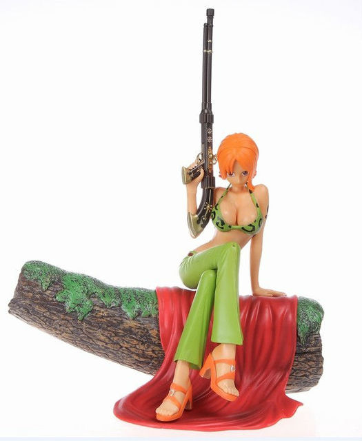 ree shipping,One Piece POP D.P.C.E Sitting Nani Gun Verson PVC Figure 20CM Height toys