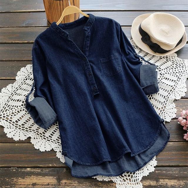2018 осень ZANZEA Для женщин синего джинсового цвета блузка V шеи длинным рукавом Повседневное свободные OL Рабочая Рубашка вечерние верхние пуговицы Blusas Плюс размеры