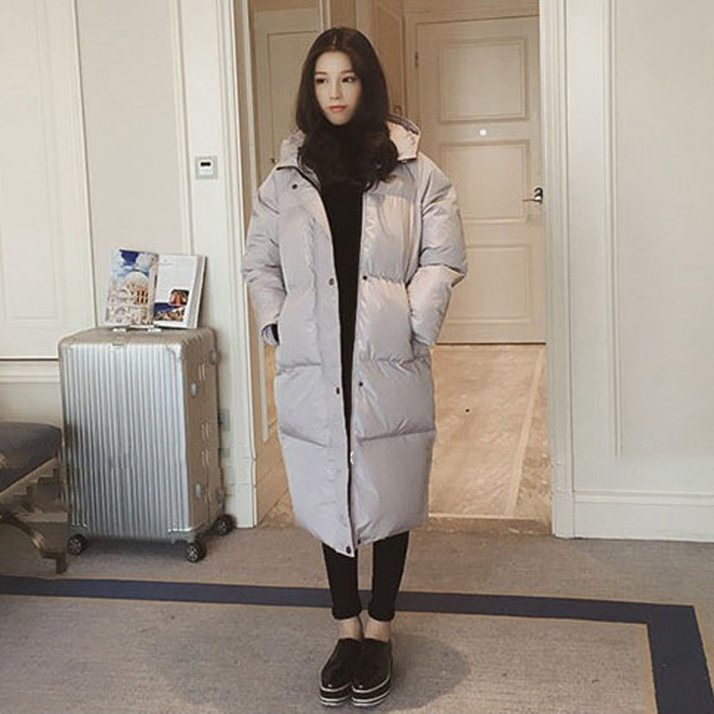 fashion classic Women Winter Quilted Down Jacket Long Hooded Coat Warm thickened Snow   Parka   solid zipper pocket Puffer coats