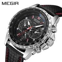 MEGIR Fashion Top Brand Sports Watches Men Leather Luxury Quartz Military Wrist Watch Waterproof Clock Male