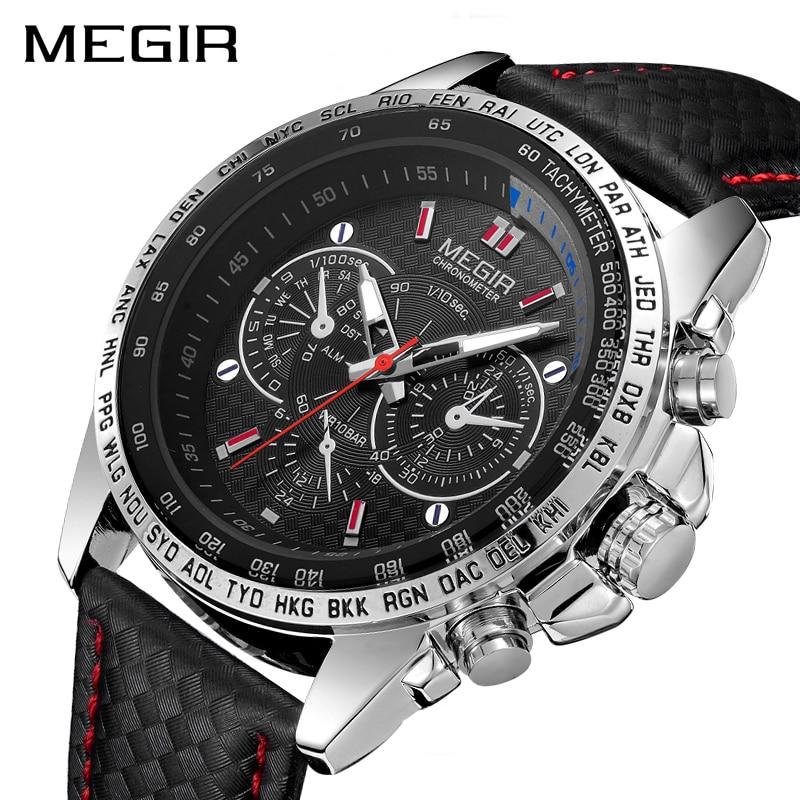 MEGIR Mode Top Marque de Sport Montres Hommes En Cuir De Luxe Quartz Montre-Bracelet Militaire Imperméable À L'eau Horloge Mâle Relogios
