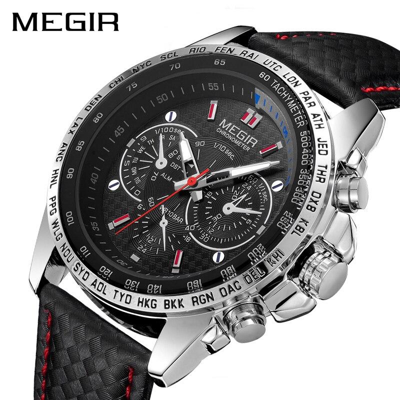 Megir moda Top marca Relojes deportivos hombres de lujo de cuero cuarzo Militar reloj impermeable reloj hombre relogios