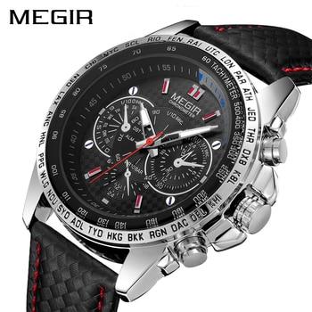b56d6acdb9d4 Relojes deportivos marca superior moda MEGIR reloj de pulsera militar de  cuarzo de lujo de cuero