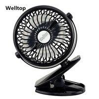 Welltop Rechargeable Portable Fan 360 Degree Rotation Desktop USB Fan Baby Stroller Mini Clamp Mute Fan