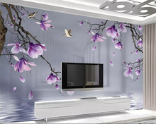 beibehang Custom 3D Photo Wallpaper HD hand painted magnolia bird Wall Mural Wallpaper For Living Room Bedroom 3d wallpaper beibehang custom wallpaper mural 3d blue flower hotel living room wall 3d wallpaper wall sticker wallpapers for living room