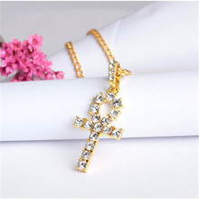 1PC Hip Hop Bling Alloy Egyptian Anhe Key Pendant Golden black men and women necklace Street hipster accessories