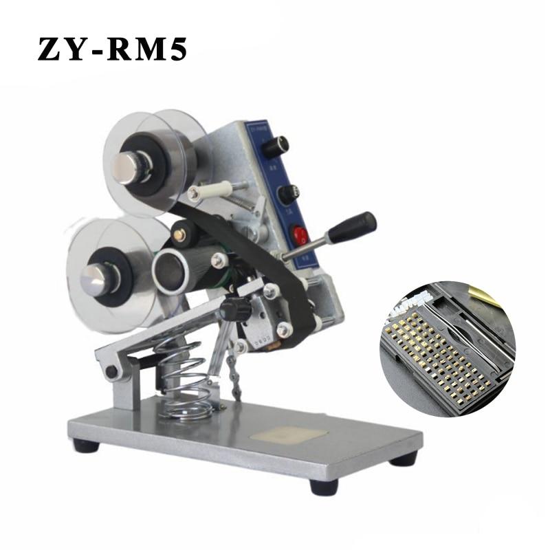 ZY-RM5 couleur ruban chaud Machine d'impression chaleur ruban imprimante Film sac Date imprimante manuel codage Machine