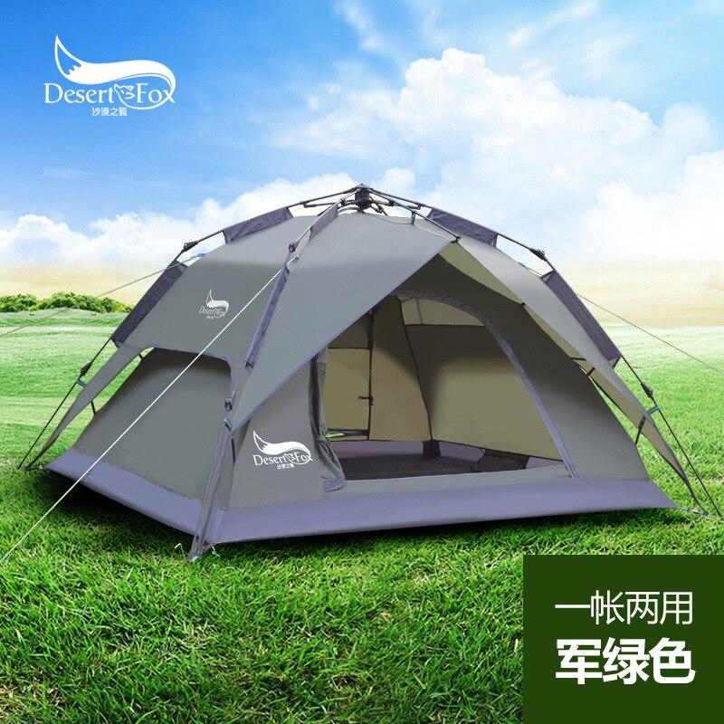 Tentes de haute qualité extérieures de desert tfox 3-4 personnes tentes automatiques doubles anti-torrento man tentes de camping tentes multifonctionnelles