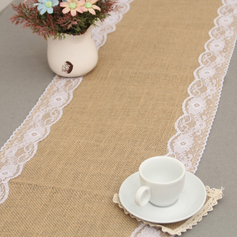 HAZY Vintage Natural Wedding Burlap Table Runner Jute Linen Lace Table Runners Christmas Dining Room Home Decoration
