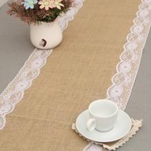 Camino de mesa de arpillera Natural Vintage brumoso para boda, corredores de mesa de encaje de lino de yute, decoración navideña para comedor o hogar